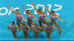 Great Britain compete in the women's Team Synchronised Swimming Technical Routine on Day 13 of the London 2012 Olympic Games at the Aquatics Centre