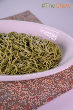 Smother your favorite pasta with this peppery take on traditional pesto to make a Arugula Pesto Spaghettini by Clinton Kelly! #TheChew