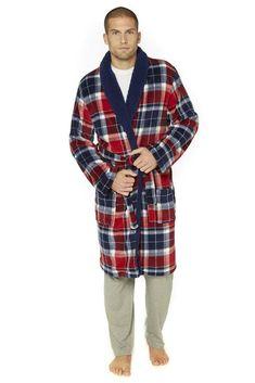 37712f55f5 Check Sherpa Collar Luxury Robe Red Size L XL rrp 30.00 SA170 AE 01