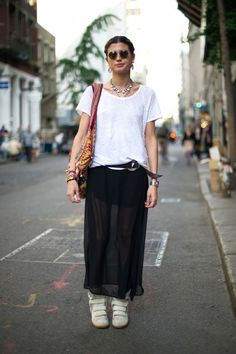 black maxi skirt & sneakers