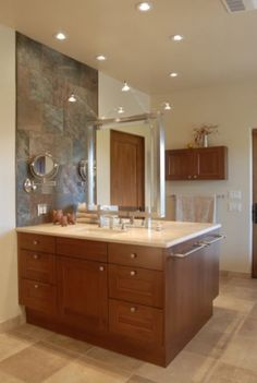 Transitional styling bathroom with clean modern lines - Dura Supreme Cabinetry by Kitchen Dimensions of Santa Fe, NM.