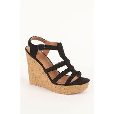 Black Poppy Strap Detailed Cork Wedge Sandals ($40) ❤ liked on Polyvore