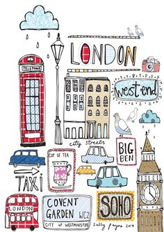 art, illustration, and london image - Travel London Illustration, Travel Illustration, London Art, London Style, London Flag, London Icons, London Calling, Travel Posters, Doodle Art