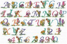 Maria Diaz Designs: SPRING FLOWER ALPHABET (Cross-stitch chart)