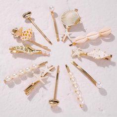 Womens U-shaped alloy imitation pearl conch Hair Accessories Mermaid Jewelry, Seashell Jewelry, Seashell Crafts, Hair Accessories For Women, Wedding Hair Accessories, Jewelry Accessories, Fashion Accessories, Beach Accessories, Accesorios Casual