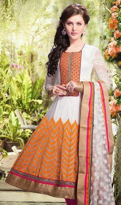 Off White and Orange Net Anarkali Dress Price: Usa Dollar $266, British UK Pound £156, Euro195, Canada CA$284 , Indian Rs14364.