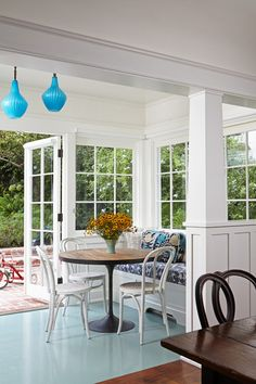 Transitional Sunroom by Lewin Wertheimer and blue floor for kitchen/breakfast nook Dream Dining Room, Charming House, Home, House Design, Backyard Living, White Dining Chairs, Sunroom, Home And Family, Outdoor Furniture Sets