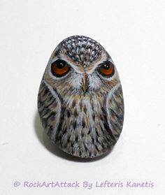 Owl Painting On Stone Handmade Pebble Painting by RockArtAttack