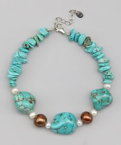 Take a look at this Turquoise & Brown Freshwater Pearl Bracelet by Athra on #zulily today!