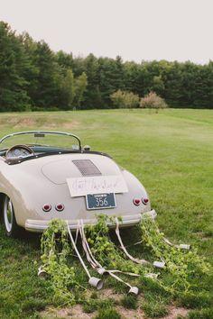 """Just Married"" vintage getaway car: http://www.stylemepretty.com/2015/11/18/elegant-autumn-barn-wedding-in-maine/ | Photography: Henry + Mac - http://henryandmac.com/"
