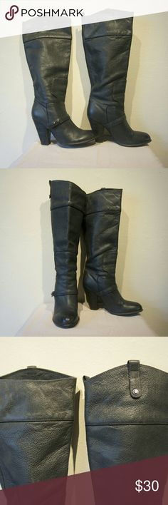 Tall leather boots by Sam Edelman Stunning deep charcoal color, buttery soft leather with a stacked heel. Loop tabs for easy pull-on on. Heel measures 3.75inches with a 0.25inch platform. Boot shaft measures 16.5inches and the boot leg opening is about 22inches around. Worn for one night, great condition. US 7.5 EU 38 Sam Edelman Shoes Heeled Boots