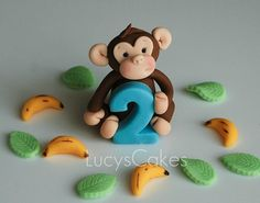 *SUGAR ART ~ monkey birthday cake topper set by Lucyscakesandtoppers.co.uk, via Flickr