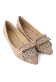#Chicwish Tassels Bow Pointed Flat Shoes in Nude Pink - New Arrivals - Retro, Indie and Unique Fashion