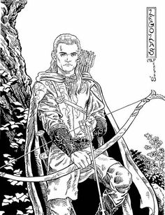 The Lord of The Rings, : Awesome Picture of Legolas in the Lord of the Rings Coloring Page