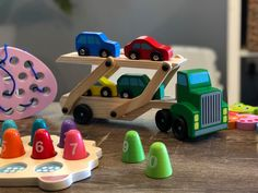 🚛 Is your little one in love with trucks and cars? 🚚 Inspire creativity and imaginative play with this foldable wooden truck and its four cars while developing hand eye coordination and fine motor skills. Wooden Truck, Five Little, Little Learners, Imaginative Play, Fine Motor Skills, Creativity, Inspire, Trucks, Eye