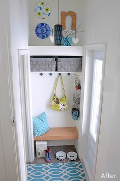 #MakeoverTour - A tiny mudroom gets a colorful face lift!