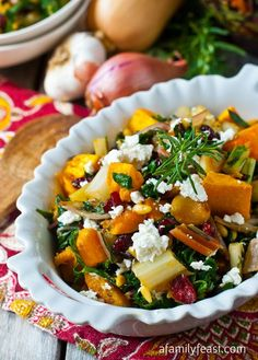 Roasted Butternut Squash and Swiss Chard - One of our favorite ways to enjoy butternut squash - with sauteed Swiss chard, roasted garlic, caramelized onion and pine nuts and dried cranberries. YUM!