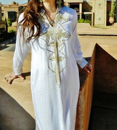 Whte with Gold  Moroccan Caftan Dress Long  by MaisonMarrakech