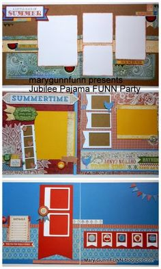 Mary Gunn FUNN - Bright scrapbook layouts with free cutting diagram with purchase. Great for picnics, 4th of July, county fairs, petting zoos, and other summer outside memories.