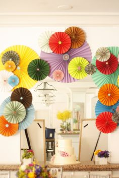 inexpensive decor inspiration-could do red, white and blue for my July party Paper Crafts, Diy Crafts, Diy Paper, Tissue Paper, Paper Fans, Partys, Paper Flowers, Paper Butterflies, Party Time
