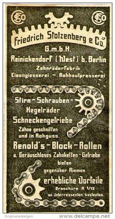 Original-Werbung/ Anzeige 1910 - ZAHNRÄDER / FRIEDRICH STOLZENBERG BERLIN REINICKENDORF - ca. 50 x 90 mm