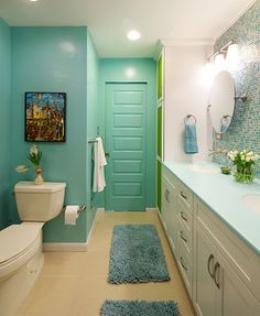 Colorful #bathroom.  www.remodelworks.com