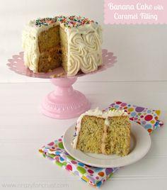 Banana Cake with Caramel Frosting from CrazyforCrust.com   Ah-Mazing!  #cake #recipe