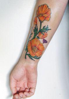 California Poppy Botanical Drawing Tattoo Pin