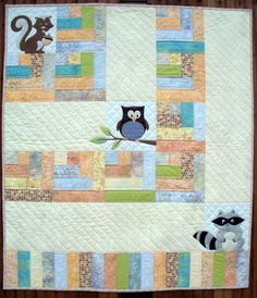 ONE BIG CABIN    40″ x 46″ Applique Baby Quilt with adorable woodland critters. Uses 1 Jelly Roll or BaliPop. Optional instructions for cutting from Fat Quarters provided. Also, makes a cute quilt without the applique!    This is a PDF/Digital version of the pattern for download. (If you prefer a printed version, please visit our website www.rowhousecreations.com or ask for it at your local quilt shop).