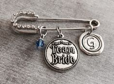 TEAM BRIDE, Bridesmaid, Bride, Maid of Honor, Matron of Honor, Silver Kilt Pin Brooch, Silver Brooch, silver kilt pin, Wedding Jewelry by SAjolie, $19.95 USD