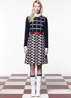 10 Work-Outfit Ideas Fashion People Will Love #refinery29  http://www.refinery29.com/runway-work-inspired-outfits#slide-6  Don't fear a crazy mix of prints, just be sure to tie them together. In the case of this Jil Sander Navy look, the patterns are unified by color family and further grounded by a solid belt.