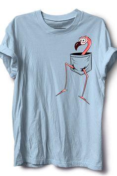 For Flamingo-Lovers l Fancy Pink Flamingo In A Pocket T-Shirt Shirt Print Design, Tee Shirt Designs, Batik Shirt, Funny Shirts, Tee Shirts, Geile T-shirts, Paint Shirts, T Shirt Painting, Painted Clothes
