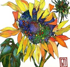 Sunflower I « jacktierneygallery Watercolor Sunflower, Sunflower Art, Watercolor Plants, Watercolor And Ink, Oil Pastel Paintings, Watercolor Paintings, Botanical Art, Painting Inspiration, Drawings
