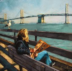 "Daily Paintworks - ""San Francisco - the Perfect Gift Idea"" - Original Fine Art for Sale - © Karin Jurick Mode Poster, Newspaper Art, Reading Art, Paintings I Love, Urban Life, Art Plastique, Fine Art Gallery, Anime Comics, Figure Painting"
