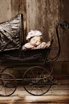 Antique baby carriage newborn baby photo ideas.