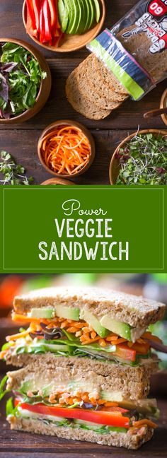 Power Veggie Sandwich - A colorful and power packed sandwich with a generous smear of roasted garlic hummus, and a pile of avocado, cucumber, red pepper, carrots and micro greens.