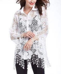 Look at this #zulilyfind! White Crochet Button-Up Top - Women #zulilyfinds