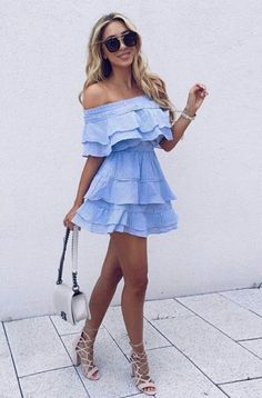 Blue ruffle dress.