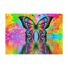 Shop Psychedelic Butterfly Canvas Print created by NatureTales. Diy Canvas Art, Canvas Artwork, Canvas Prints, Canvas Paintings, Art Prints, Butterfly Canvas, Butterfly Painting, Butterfly Wallpaper, Sharpie Colors