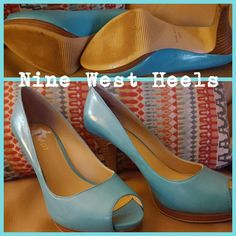 Nine West Heels These are a light blue approximately 3 inch heels. Made of leather, just worn once. Adorable for spring. They are a 5 1/2. I normally where a 6 and these fit fine. Let me know of any questions.  Thanks for looking. Nine West Shoes Heels