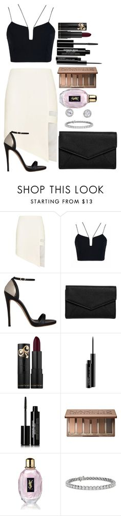 """Untitled #1565"" by fabianarveloc on Polyvore featuring Mason by Michelle Mason, Giuseppe Zanotti, LULUS, MAC Cosmetics, Edward Bess, Urban Decay, Yves Saint Laurent and Blue Nile"