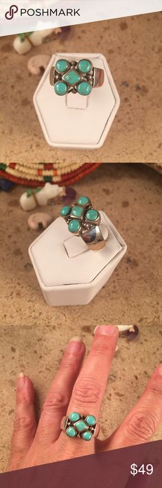 Pilot Mountain Turquoise Navajo ring size 7 This is a wonderful piece made by Alex Begay it is made of Sterling Silver and Pilot Mountain Turquoise. This ring is a size 7.This piece is right at 1/2 of an inch long and 1/2 of an inch wide. The ring is signed  by the artist and stamped sterling.   Please contact me with any questions and thank you for looking. Jewelry Rings