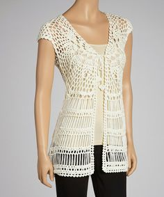 Take a look at this Natural Lace Crocheted Open Cardigan by Simply Irresistible on #zulily today!