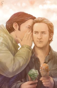 Not shipping this, but thought was cute.      Sam and Gabriel with Bonus Ice Cream  by *JoannaJohnen