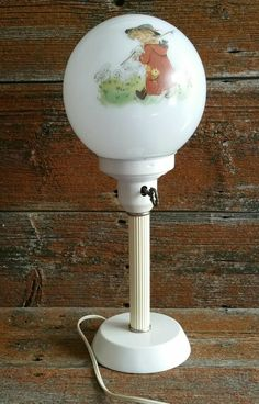 Vintage Electric Glass Globe Pedestal Lamp, Shepherd Boy And Sheep Nursery Room Lamp, Boy's Room Lamp by EmptyNestVintage on Etsy