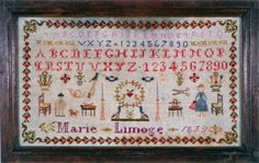 A 19th Century FRENCH Sampler Stitched By Marie Limoge & Dated 1879