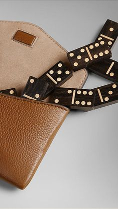 Tan Wooden Domino Set with Grainy Leather Case - Image 4