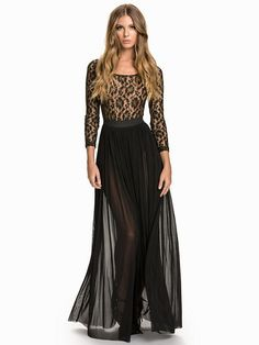 Nelly.com: Metallic Lace Maxi Dress - Rare London - kvinna - Svart. 699 kr