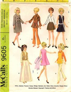 Vintage Barbie Doll Clothes PATTERN 9605 for Francie Casey Midge Barbara Joe Babs Gina Annette Batgirl Mera Wonder Woman Supergirl Tammy 60s by BlondiesSpot2 on Etsy