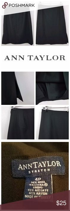 Ann Taylor wool blend pencil skirt lined career Ann Taylor stretch wool blend lined pencil skirt. Black. Size 4 petite. Perfect for the office. Length is 21.5 inches and waist is 27 inches. Inv 1768. Ann Taylor Skirts Pencil